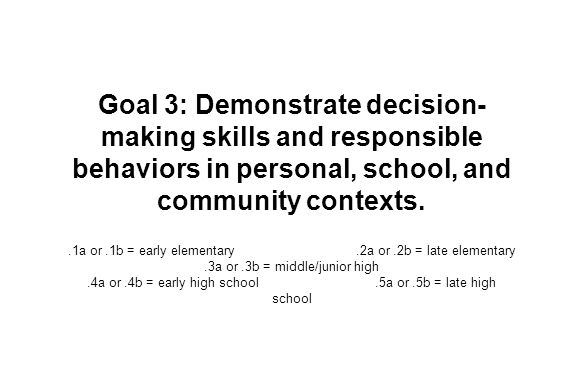 Goal 3: Demonstrate decision- making skills and responsible behaviors in personal, school, and community contexts..1a or.1b = early elementary.2a or.2b = late elementary.3a or.3b = middle/junior high.4a or.4b = early high school.5a or.5b = late high school