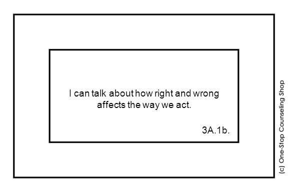 I can talk about how right and wrong affects the way we act. 3A.1b.