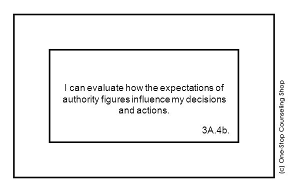 I can evaluate how the expectations of authority figures influence my decisions and actions. 3A.4b.