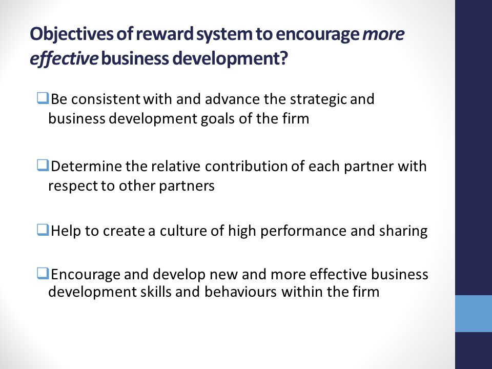 Objectives of reward system to encourage more effective business development.