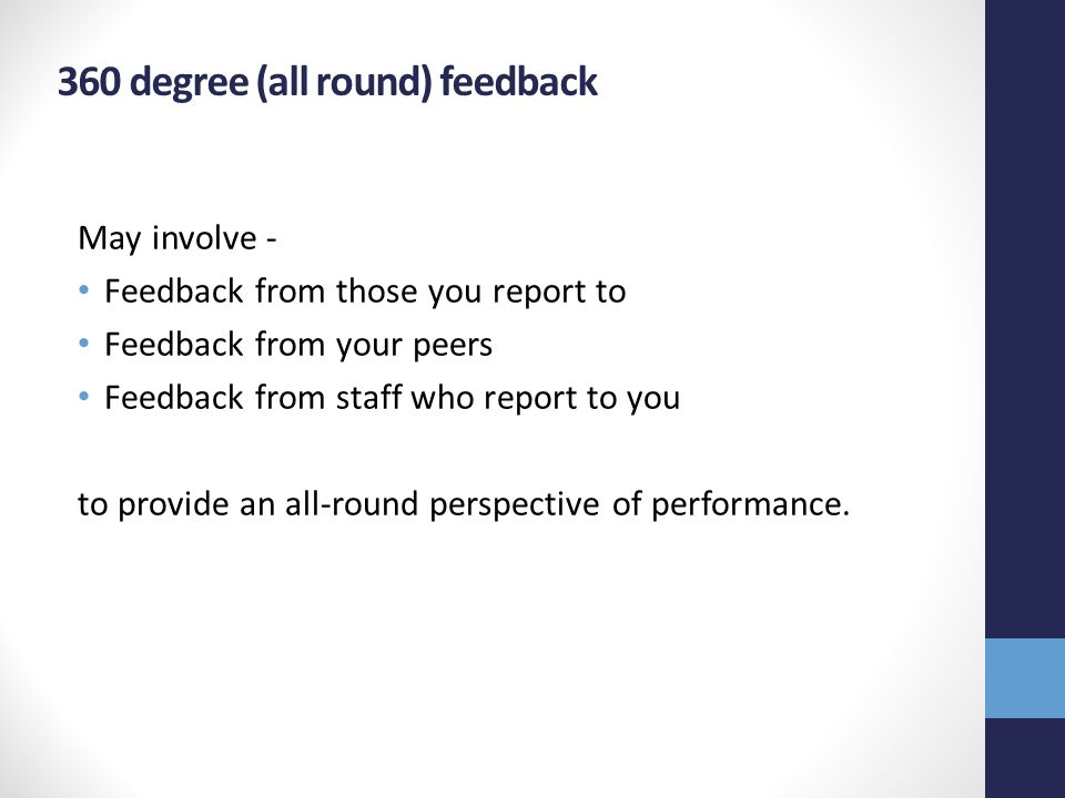 360 degree (all round) feedback May involve - Feedback from those you report to Feedback from your peers Feedback from staff who report to you to provide an all-round perspective of performance.
