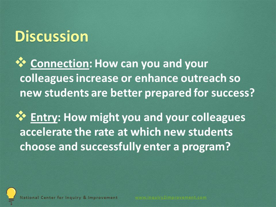 National Center for Inquiry & Improvement Discussion  Connection: How can you and your colleagues increase or enhance outreach so new students are better prepared for success.