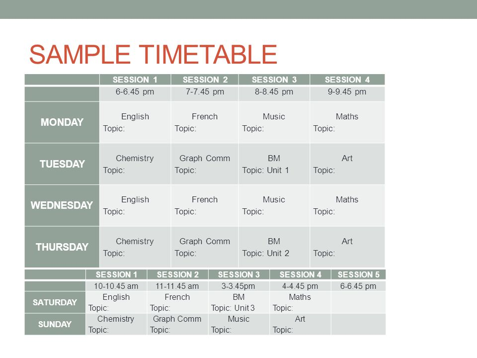 SAMPLE TIMETABLE SESSION 1SESSION 2SESSION 3SESSION pm pm pm pm MONDAY English Topic: French Topic: Music Topic: Maths Topic: TUESDAY Chemistry Topic: Graph Comm Topic: BM Topic: Unit 1 Art Topic: WEDNESDAY English Topic: French Topic: Music Topic: Maths Topic: THURSDAY Chemistry Topic: Graph Comm Topic: BM Topic: Unit 2 Art Topic: SESSION 1SESSION 2SESSION 3SESSION 4SESSION am am3-3.45pm pm pm SATURDAY English Topic: French Topic: BM Topic: Unit 3 Maths Topic: SUNDAY Chemistry Topic: Graph Comm Topic: Music Topic: Art Topic: