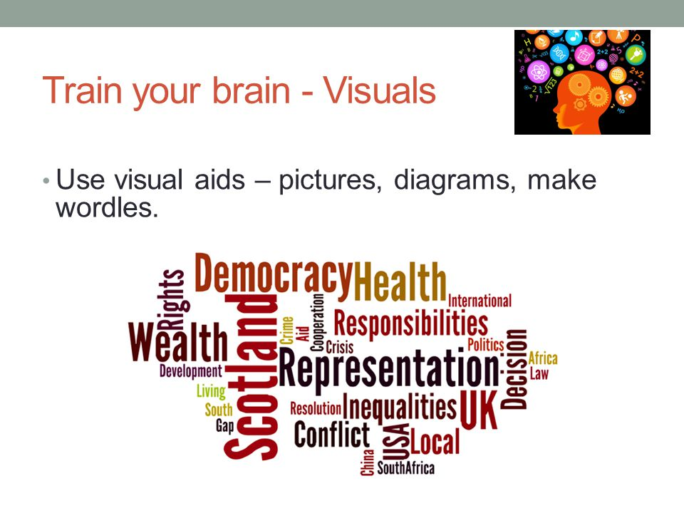 Train your brain - Visuals Use visual aids – pictures, diagrams, make wordles.