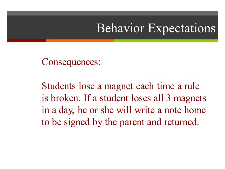 Behavior Expectations Consequences: Students lose a magnet each time a rule is broken.