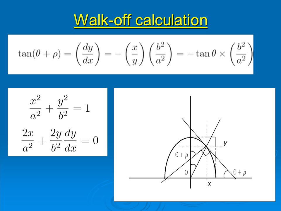 Walk-off calculation
