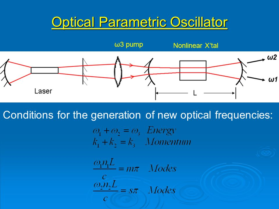 Optical Parametric Oscillator ω3 pump Nonlinear X'tal Conditions for the generation of new optical frequencies: