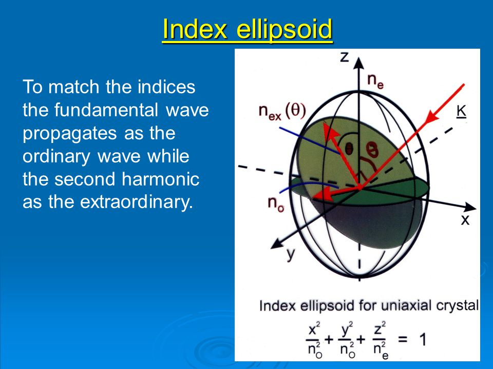 Index ellipsoid To match the indices the fundamental wave propagates as the ordinary wave while the second harmonic as the extraordinary.