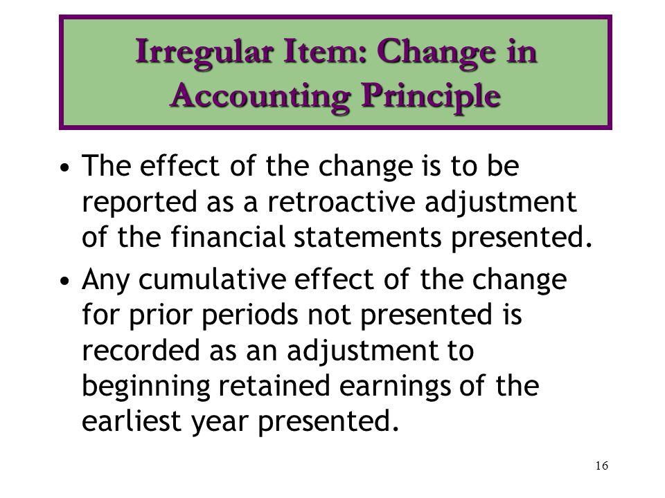16 The effect of the change is to be reported as a retroactive adjustment of the financial statements presented.