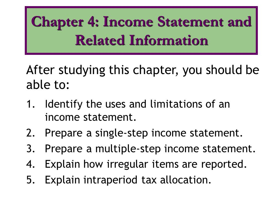 1.Identify the uses and limitations of an income statement.
