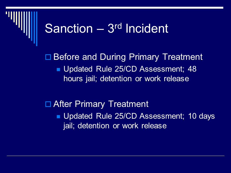 Sanction – 3 rd Incident  Before and During Primary Treatment Updated Rule 25/CD Assessment; 48 hours jail; detention or work release  After Primary Treatment Updated Rule 25/CD Assessment; 10 days jail; detention or work release