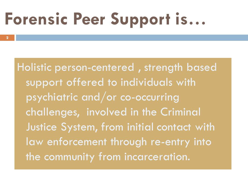 Forensic Peer Support is… 2 Holistic person-centered, strength based support offered to individuals with psychiatric and/or co-occurring challenges, involved in the Criminal Justice System, from initial contact with law enforcement through re-entry into the community from incarceration.
