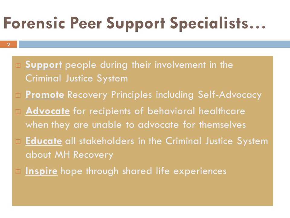 3  Support people during their involvement in the Criminal Justice System  Promote Recovery Principles including Self-Advocacy  Advocate for recipients of behavioral healthcare when they are unable to advocate for themselves  Educate all stakeholders in the Criminal Justice System about MH Recovery  Inspire hope through shared life experiences Forensic Peer Support Specialists…