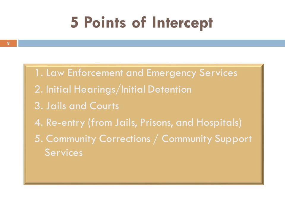 5 Points of Intercept 8 1. Law Enforcement and Emergency Services 2.