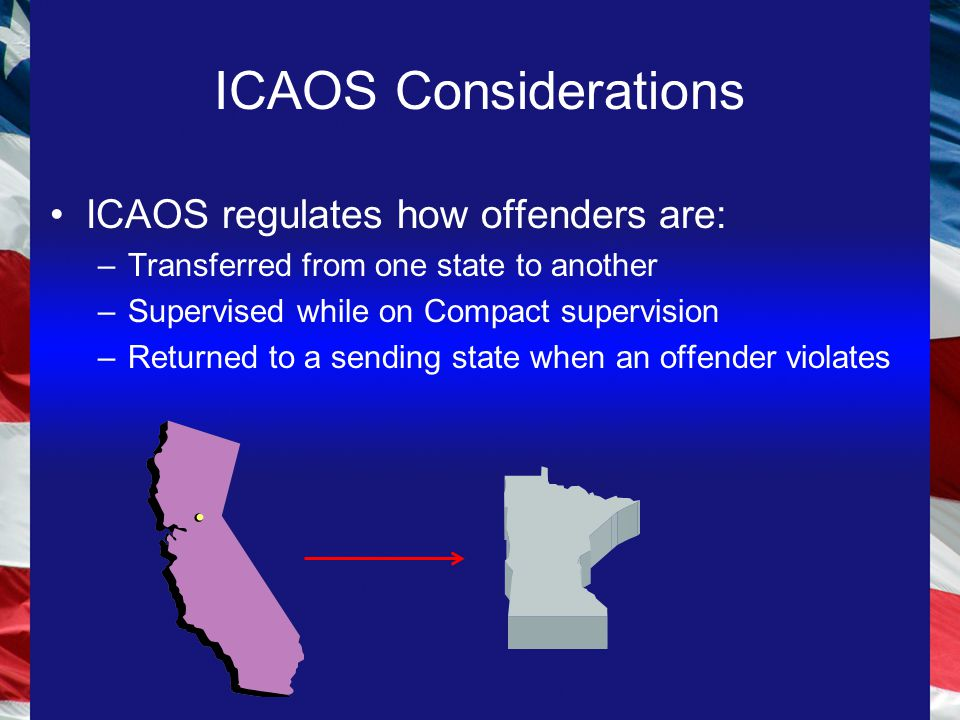 ICAOS Considerations ICAOS regulates how offenders are: –Transferred from one state to another –Supervised while on Compact supervision –Returned to a sending state when an offender violates