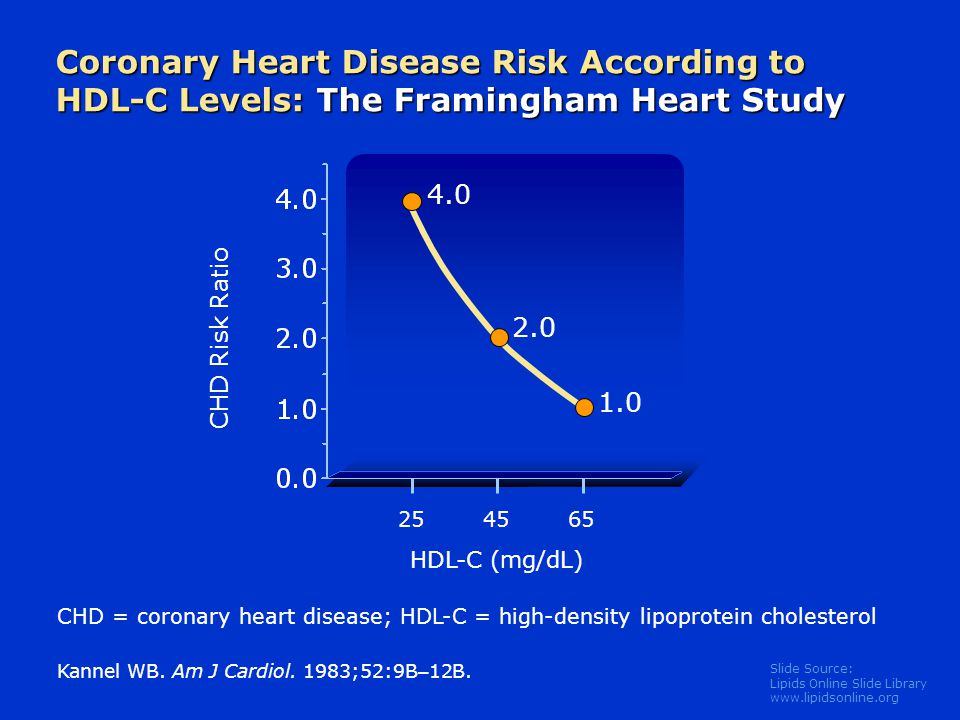 Slide Source: Lipids Online Slide Library   Coronary Heart Disease Risk According to HDL-C Levels: The Framingham Heart Study Kannel WB.