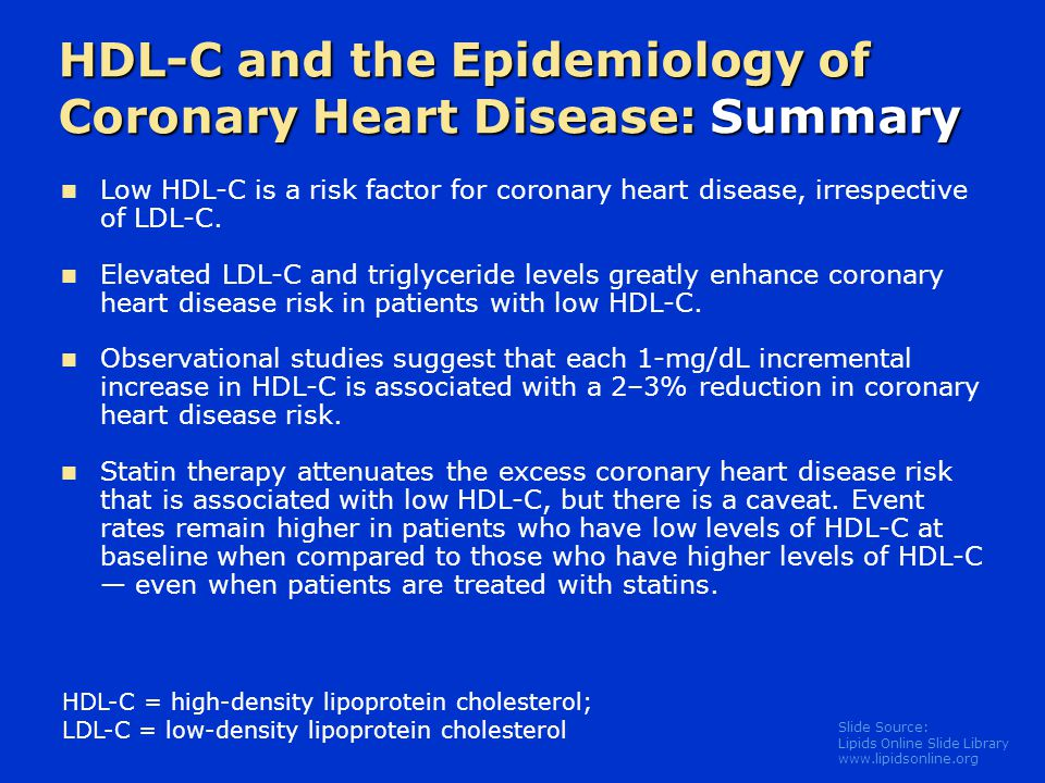 Slide Source: Lipids Online Slide Library   Low HDL-C is a risk factor for coronary heart disease, irrespective of LDL-C.