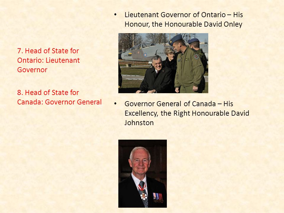 Lieutenant Governor of Ontario – His Honour, the Honourable David Onley Governor General of Canada – His Excellency, the Right Honourable David Johnston 7.