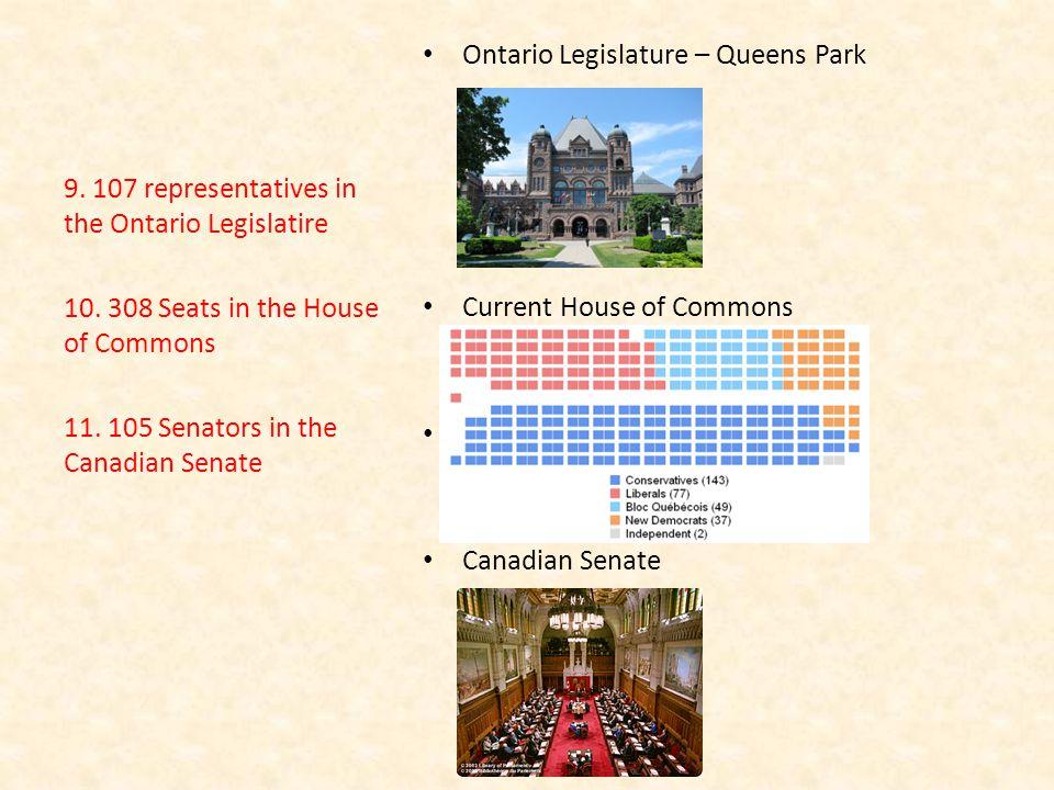 Ontario Legislature – Queens Park Current House of Commons Canadian Senate 9.