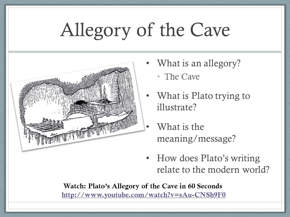a description of the allegory of the cave represented by plato One of plato's most significant philosophical works, the allegory of the cave comes across as an interesting section of the great greek philosopher's masterpiece on political theory and philosophy, the republic.