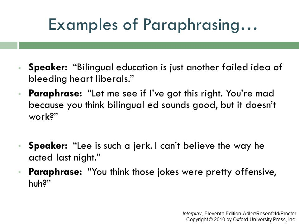Examples of Paraphrasing…  Speaker: Bilingual education is just another failed idea of bleeding heart liberals.  Paraphrase: Let me see if I've got this right.