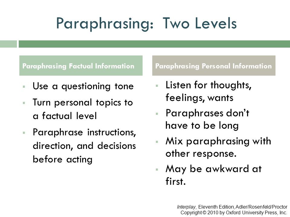 Paraphrasing: Two Levels  Use a questioning tone  Turn personal topics to a factual level  Paraphrase instructions, direction, and decisions before acting  Listen for thoughts, feelings, wants  Paraphrases don't have to be long  Mix paraphrasing with other response.