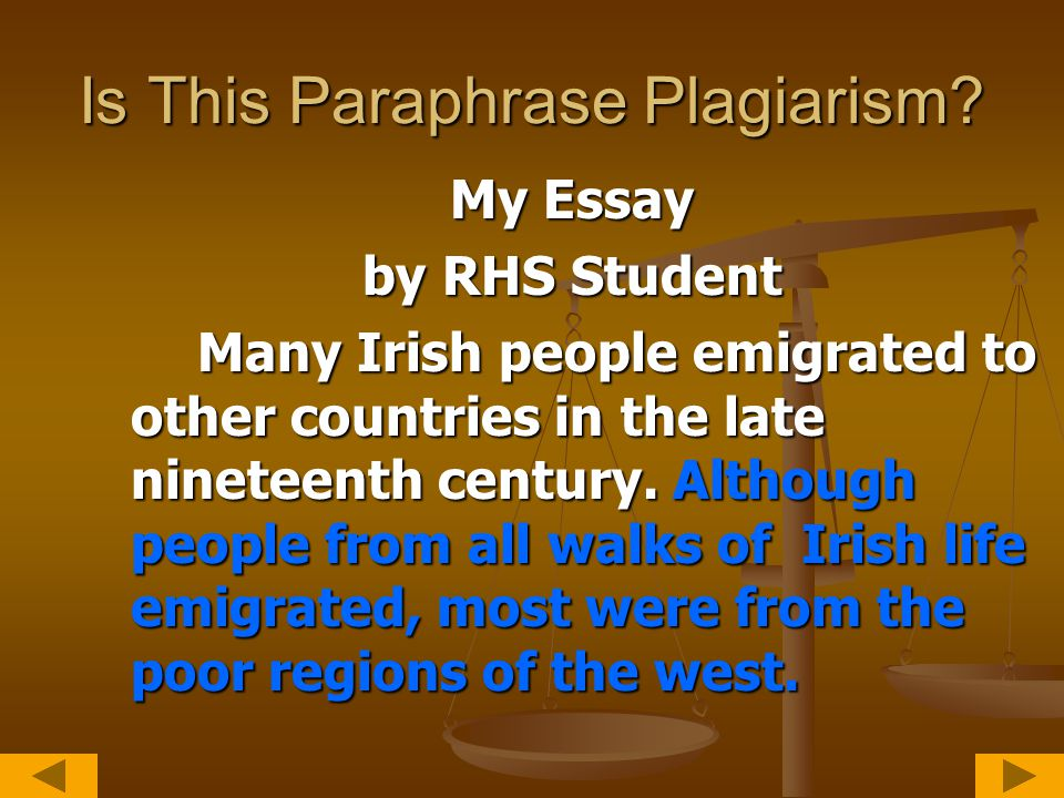 Corrected Passage My Essay by RHS Student Many Irish people emigrated to other countries in the late nineteenth century.