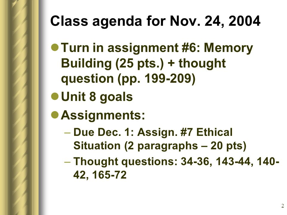 2 Class agenda for Nov.