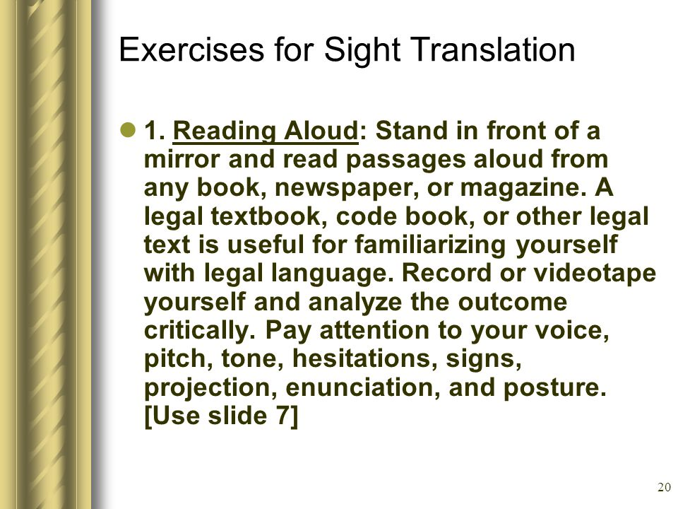 20 Exercises for Sight Translation 1.