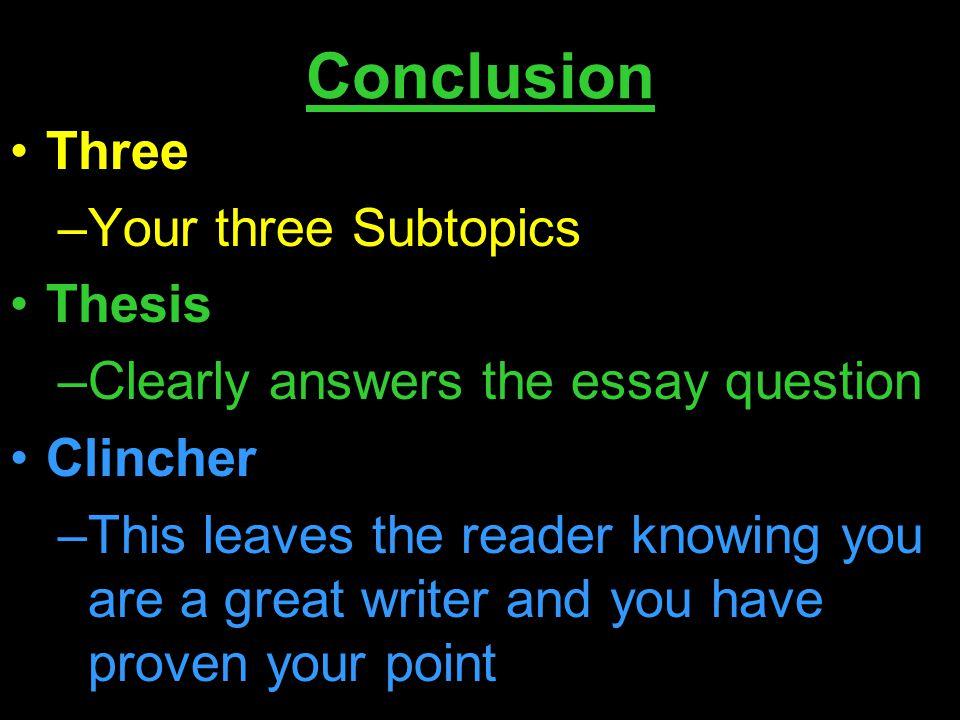 Need help with subtopics on essay?