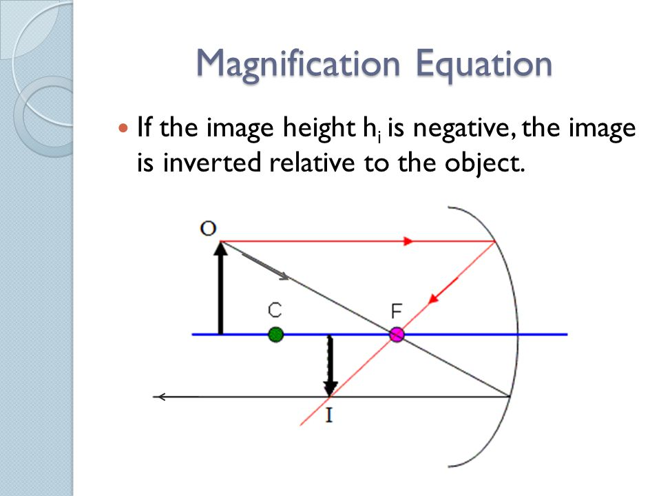 Magnification Equation If the image height h i is negative, the image is inverted relative to the object.
