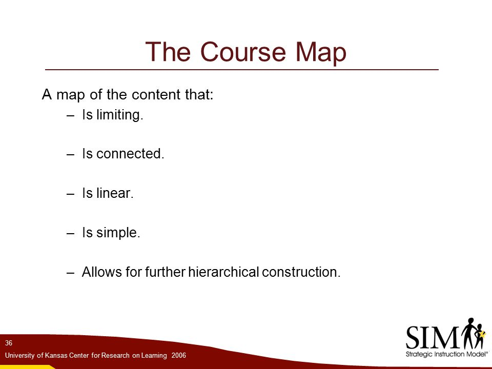 36 University of Kansas Center for Research on Learning 2006 The Course Map A map of the content that: –Is limiting.