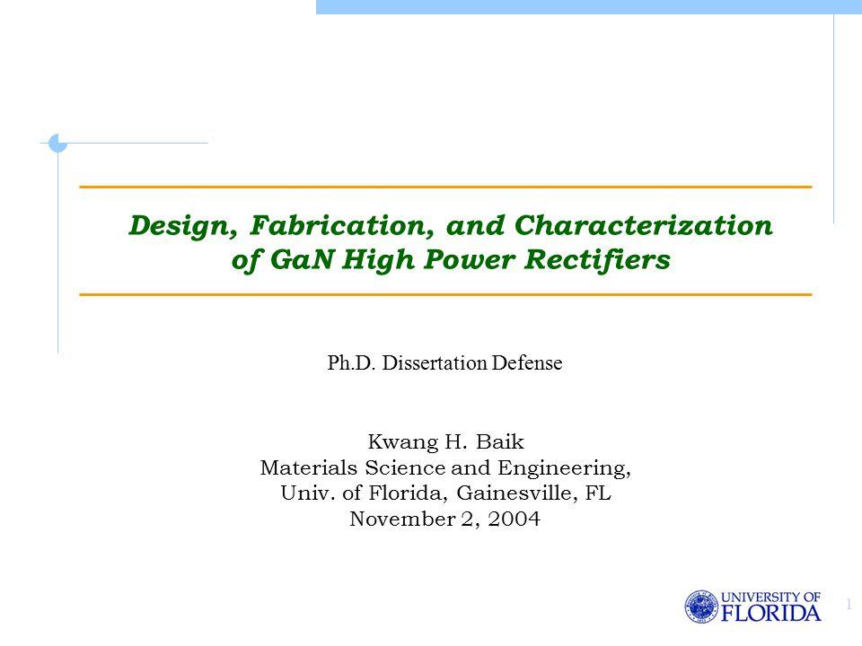 1 Design, Fabrication, and Characterization of GaN High Power Rectifiers Kwang H.