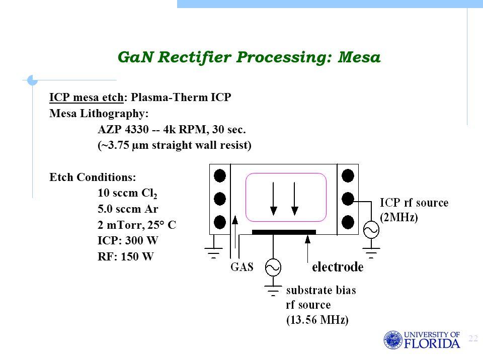 22 ICP mesa etch: Plasma-Therm ICP Mesa Lithography: AZP 4330 -- 4k RPM, 30 sec.