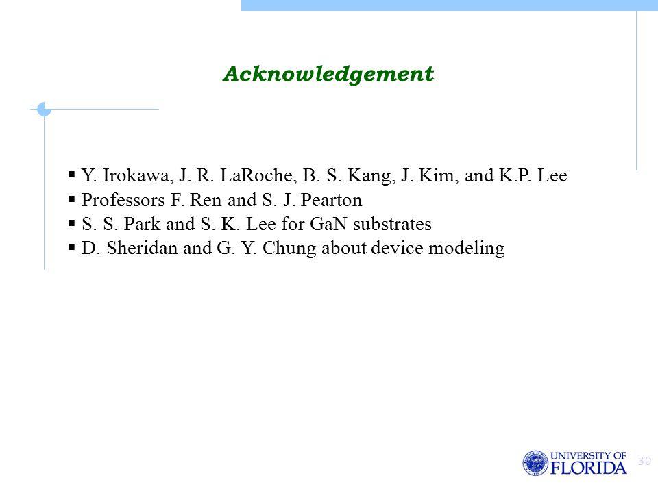 30 Acknowledgement  Y. Irokawa, J. R. LaRoche, B.
