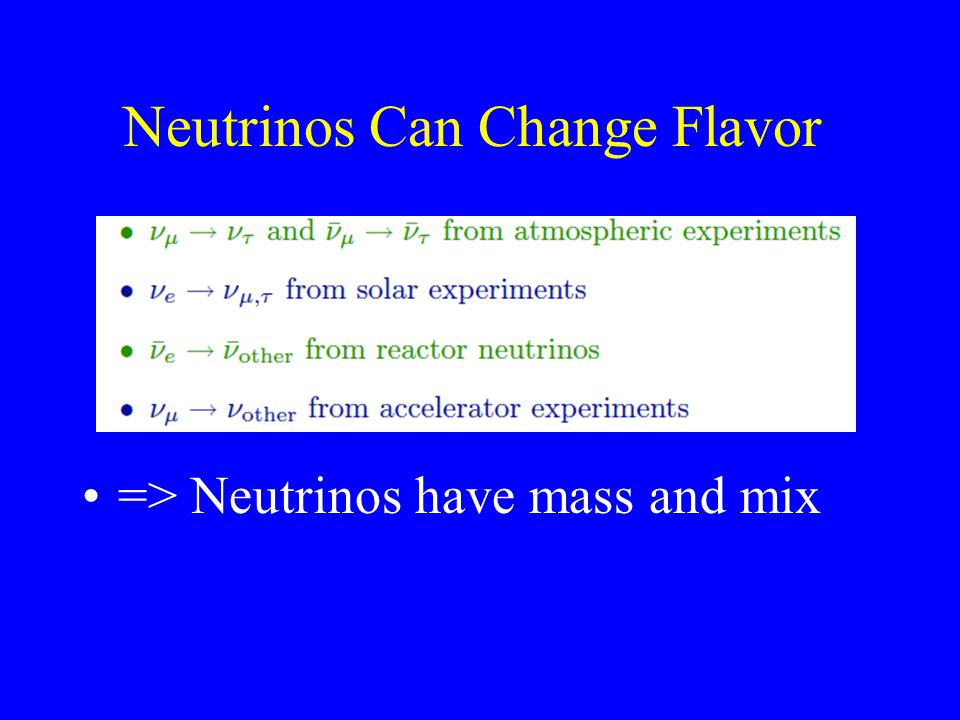 Neutrinos Can Change Flavor => Neutrinos have mass and mix