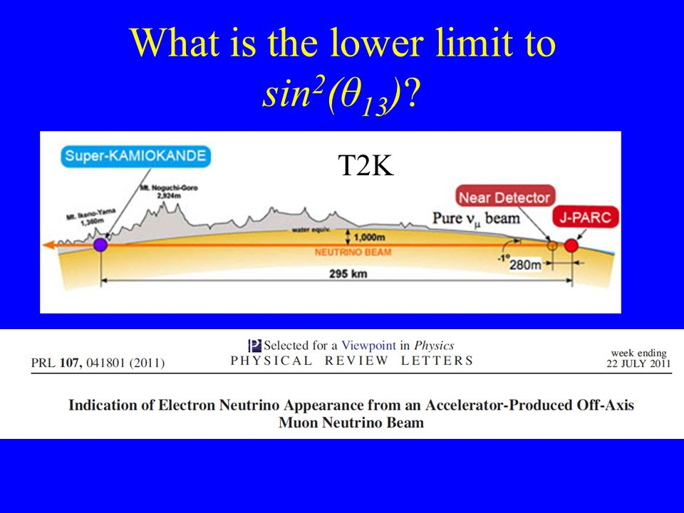 What is the lower limit to sin 2 (θ 13 ) T2K