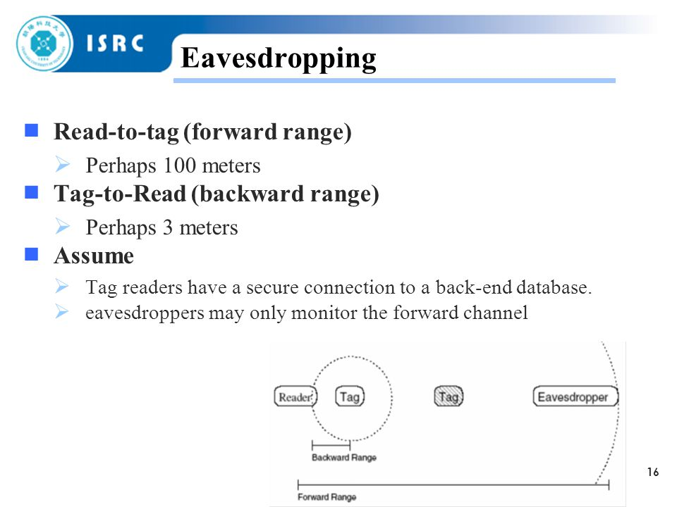 16 Eavesdropping  Read-to-tag (forward range)  Perhaps 100 meters  Tag-to-Read (backward range)  Perhaps 3 meters  Assume  Tag readers have a secure connection to a back-end database.