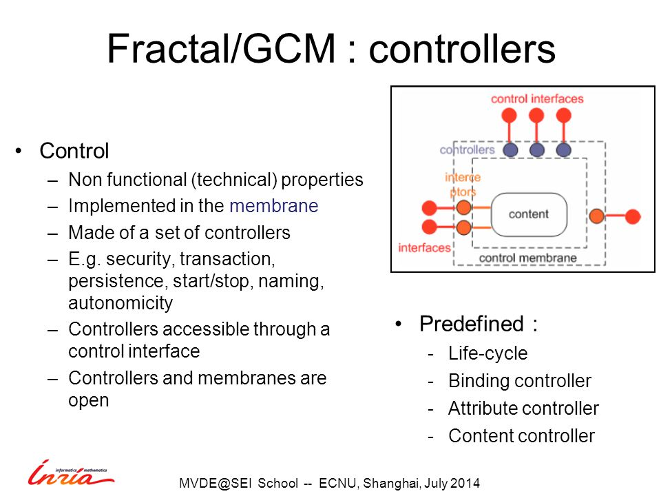 Fractal/GCM : controllers Control –Non functional (technical) properties –Implemented in the membrane –Made of a set of controllers –E.g.
