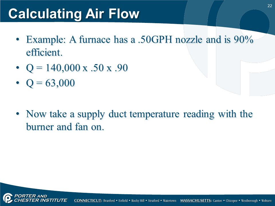 22 Calculating Air Flow Example: A furnace has a.50GPH nozzle and is 90% efficient.
