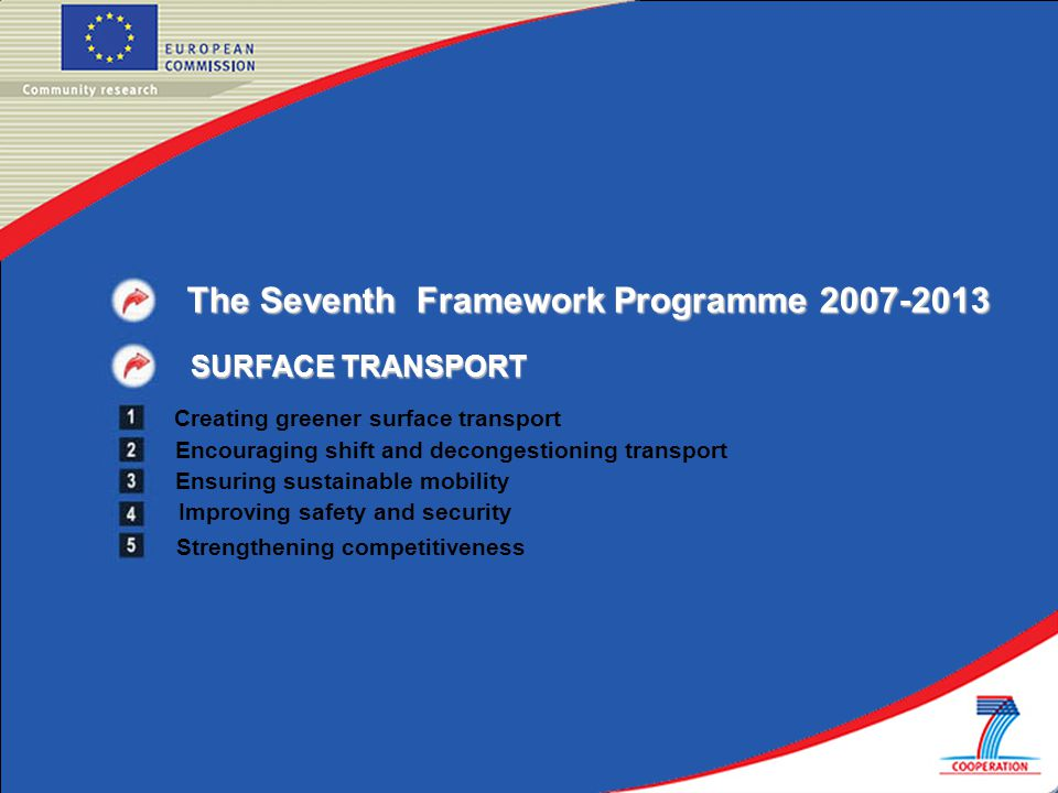 The Seventh Framework Programme SURFACE TRANSPORT Creating greener surface transport Encouraging shift and decongestioning transport Ensuring sustainable mobility Strengthening competitiveness Improving safety and security