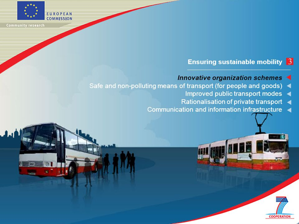 Ensuring sustainable mobility Innovative organization schemes Safe and non-polluting means of transport (for people and goods) Improved public transport modes Rationalisation of private transport Communication and information infrastructure