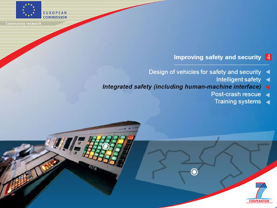 Improving safety and security Design of vehicles for safety and security Intelligent safety Integrated safety (including human-machine interface) Post-crash rescue Training systems