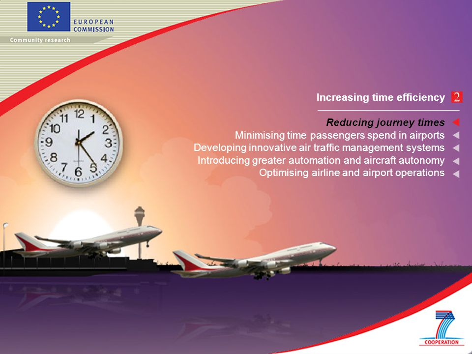 Increasing time efficiency Reducing journey times Minimising time passengers spend in airports Developing innovative air traffic management systems Introducing greater automation and aircraft autonomy Optimising airline and airport operations