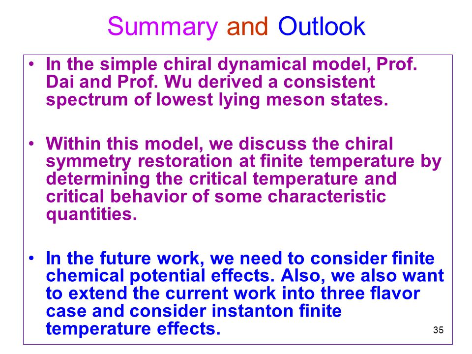 35 Summary and Outlook In the simple chiral dynamical model, Prof.