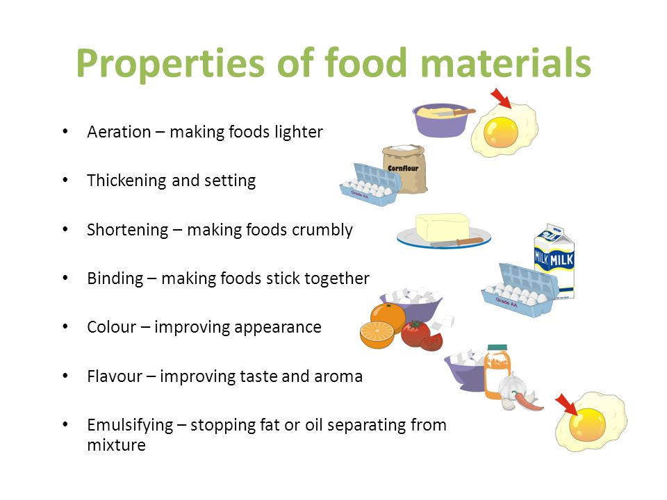 Properties of food materials Aeration – making foods lighter Thickening and setting Shortening – making foods crumbly Binding – making foods stick together Colour – improving appearance Flavour – improving taste and aroma Emulsifying – stopping fat or oil separating from mixture