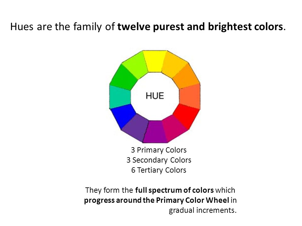 Hues Are The Family Of Twelve Purest And Brightest Colors