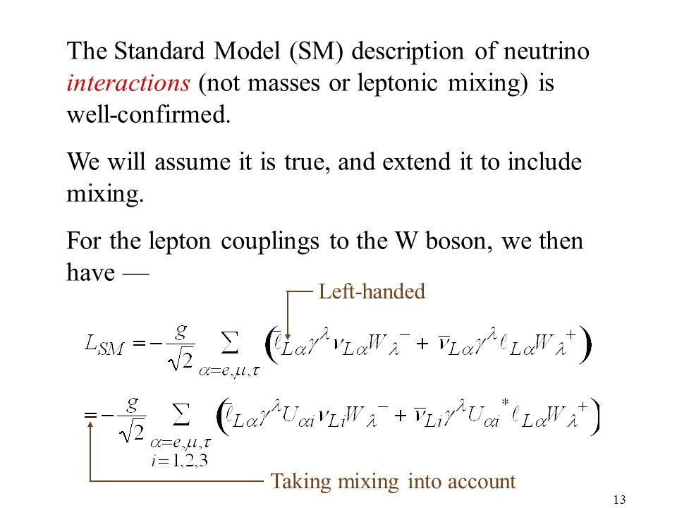13 The Standard Model (SM) description of neutrino interactions (not masses or leptonic mixing) is well-confirmed.