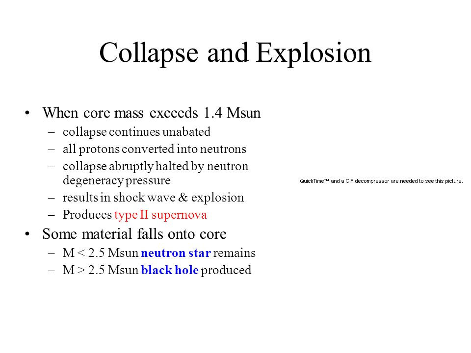 Collapse and Explosion When core mass exceeds 1.4 Msun –collapse continues unabated –all protons converted into neutrons –collapse abruptly halted by neutron degeneracy pressure –results in shock wave & explosion –Produces type II supernova Some material falls onto core –M < 2.5 Msun neutron star remains –M > 2.5 Msun black hole produced