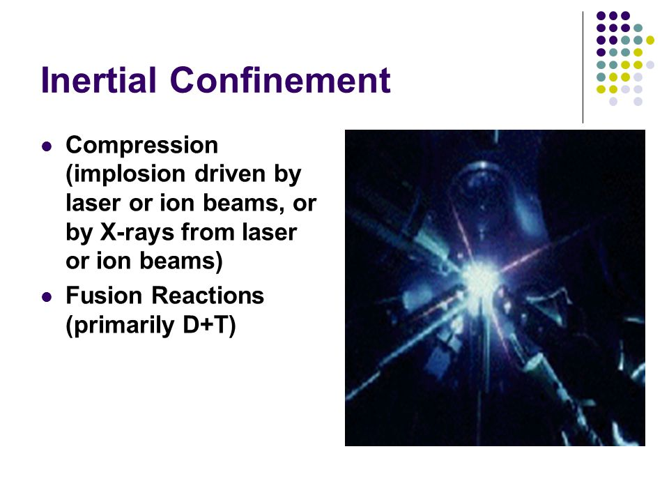 Inertial Confinement Compression (implosion driven by laser or ion beams, or by X-rays from laser or ion beams) Fusion Reactions (primarily D+T)